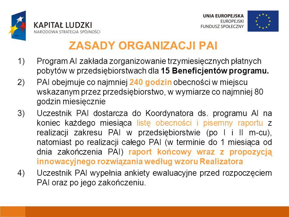 ZASADY ORGANIZACJI PAI 1)Program AI zakłada zorganizowanie trzymiesięcznych płatnych pobytów w przedsiębiorstwach dla 15 Beneficjentów programu.