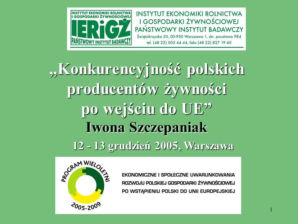2 Analizy konkurencyjności polskich producentów żywności dokonano na podstawie oceny dwóch relacji, tj.: relacji wartości eksportu z Polski, importu do Polski oraz salda tych obrotów w głównych działach przemysłu spożywczego do wartości krajowej produkcji sprzedanej w tych działach, w 2004 roku oraz w I półroczu 2005 roku; relacji krajowych cen producenta na wybrane produkty żywnościowe do cen osiąganych na te produkty w Niemczech, w 2004 roku.