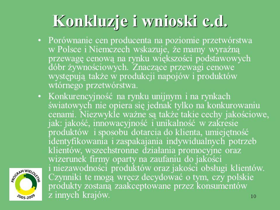10 Konkluzje i wnioski c.d. Porównanie cen producenta na poziomie przetwórstwa w Polsce i Niemczech wskazuje, że mamy wyraźną przewagę cenową na rynku