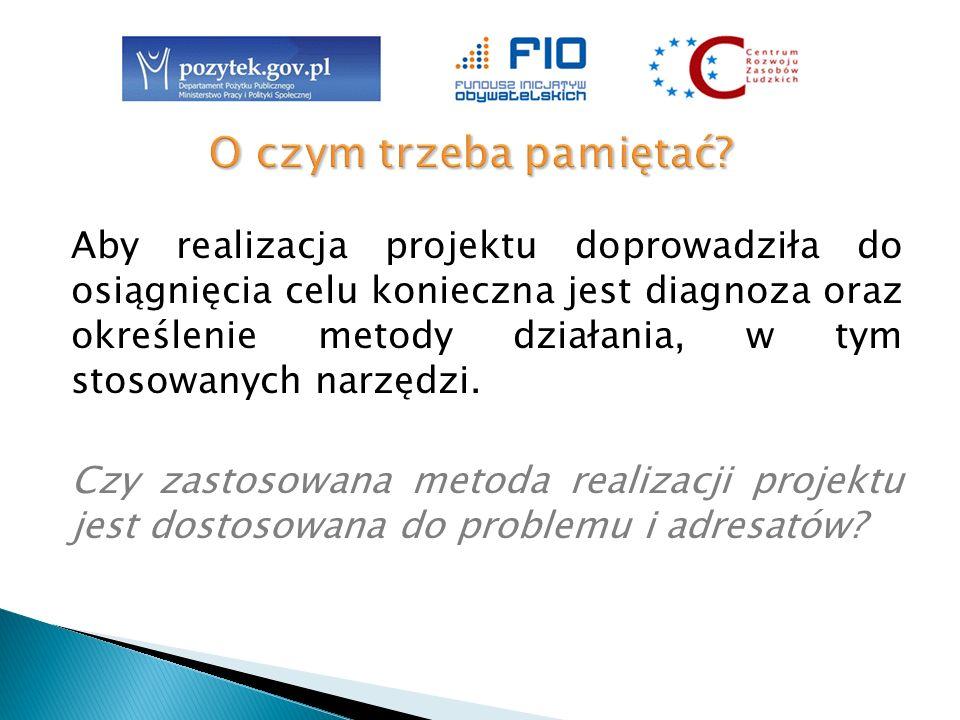 Aby realizacja projektu doprowadziła do osiągnięcia celu konieczna jest diagnoza oraz określenie metody działania, w tym stosowanych narzędzi. Czy zas