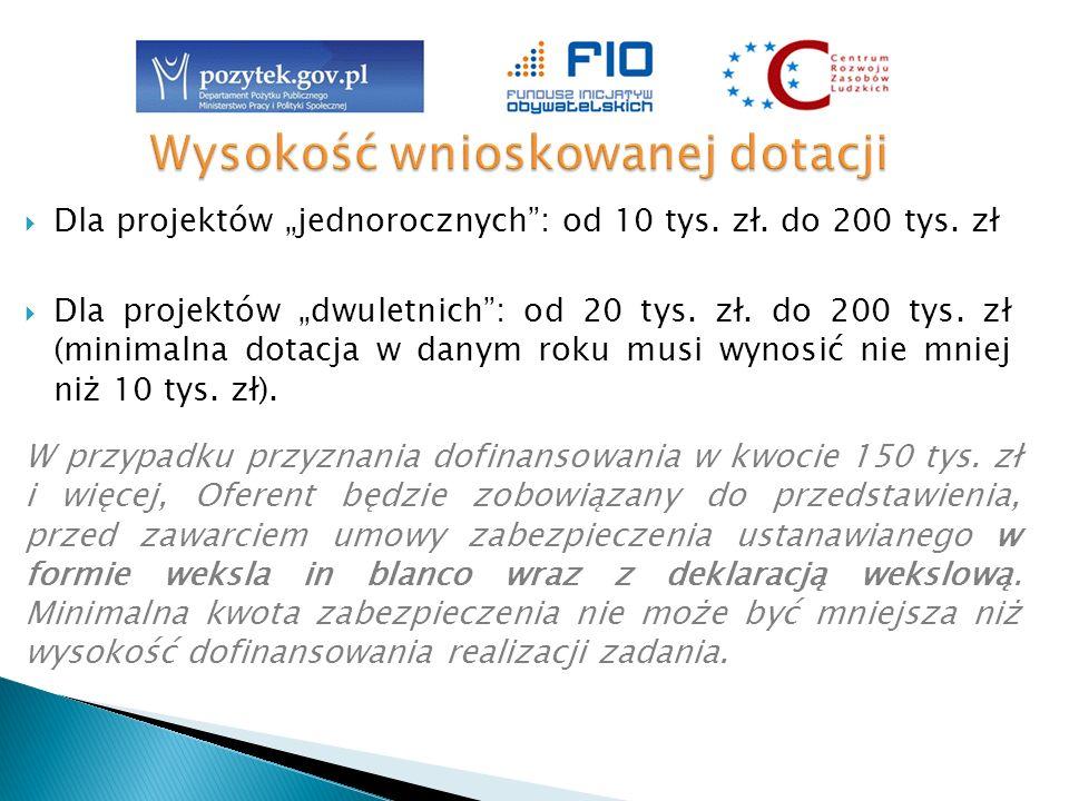 Dla projektów jednorocznych: od 10 tys. zł. do 200 tys. zł Dla projektów dwuletnich: od 20 tys. zł. do 200 tys. zł (minimalna dotacja w danym roku mus
