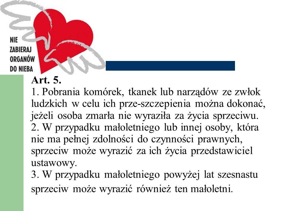 Art. 5. 1. Pobrania komórek, tkanek lub narządów ze zwłok ludzkich w celu ich prze-szczepienia można dokonać, jeżeli osoba zmarła nie wyraziła za życi