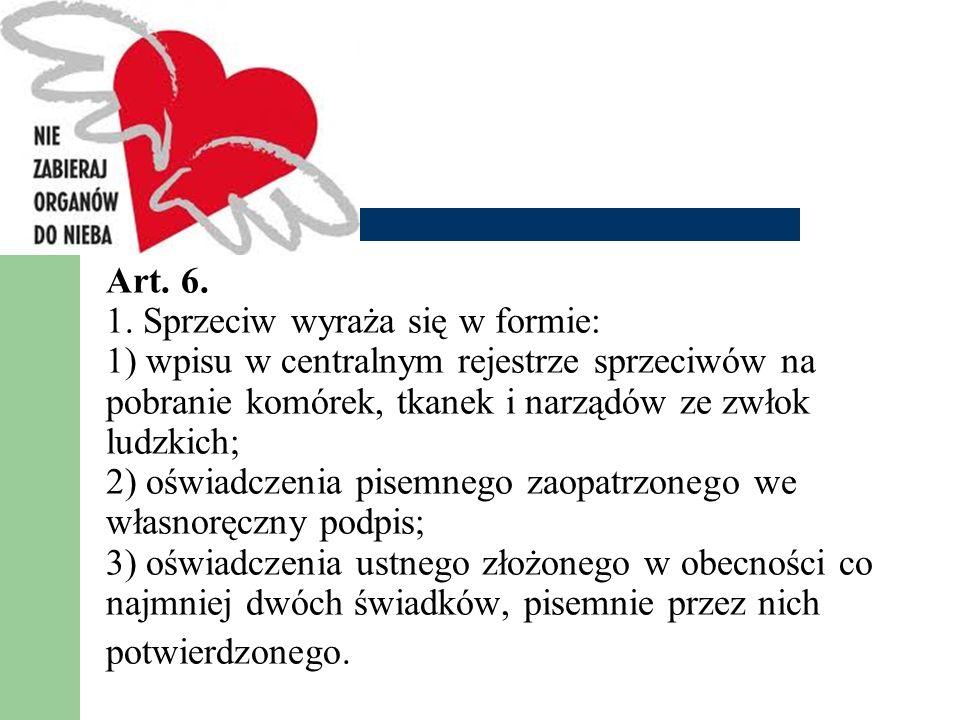 Art. 6. 1. Sprzeciw wyraża się w formie: 1) wpisu w centralnym rejestrze sprzeciwów na pobranie komórek, tkanek i narządów ze zwłok ludzkich; 2) oświa