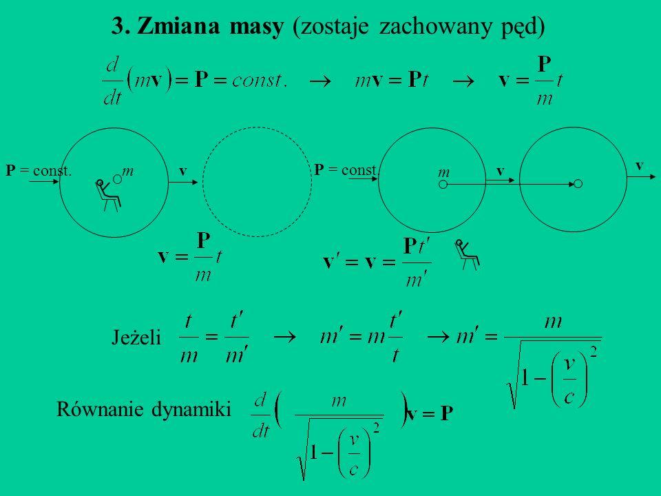 3. Zmiana masy (zostaje zachowany pęd) vmP = const.v m v Jeżeli Równanie dynamiki
