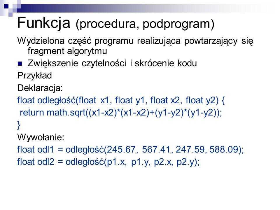 Funkcja (procedura, podprogram) Wydzielona część programu realizująca powtarzający się fragment algorytmu Zwiększenie czytelności i skrócenie kodu Prz