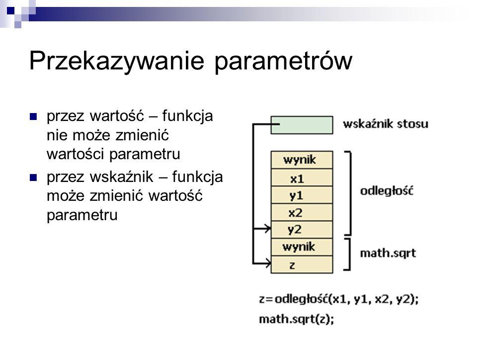 Przekazywanie parametrów przez wartość – funkcja nie może zmienić wartości parametru przez wskaźnik – funkcja może zmienić wartość parametru