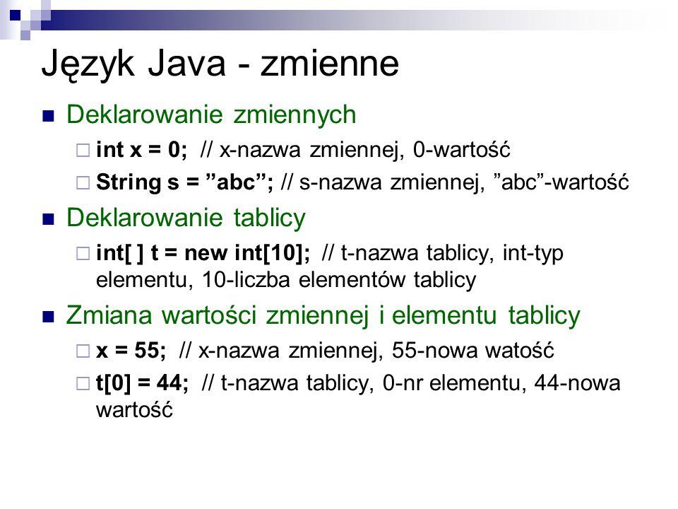 Język Java - zmienne Deklarowanie zmiennych int x = 0; // x-nazwa zmiennej, 0-wartość String s = abc; // s-nazwa zmiennej, abc-wartość Deklarowanie ta