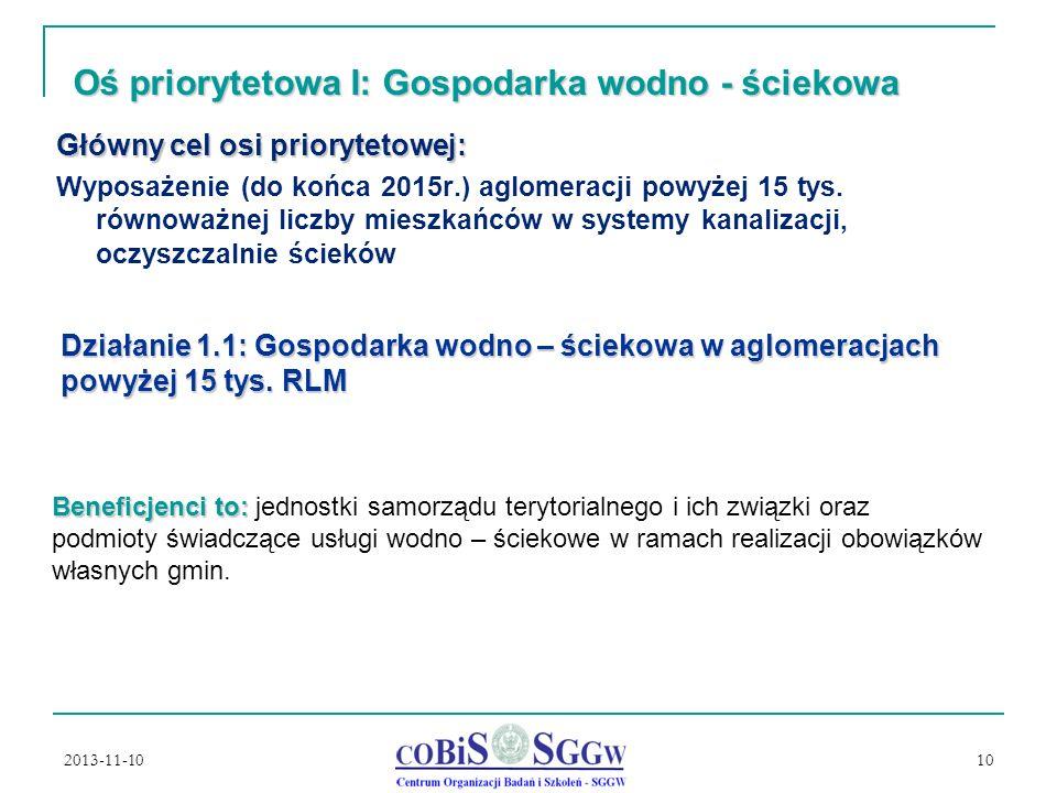 2013-11-10 10 Oś priorytetowa I: Gospodarka wodno - ściekowa Główny cel osi priorytetowej: Wyposażenie (do końca 2015r.) aglomeracji powyżej 15 tys.