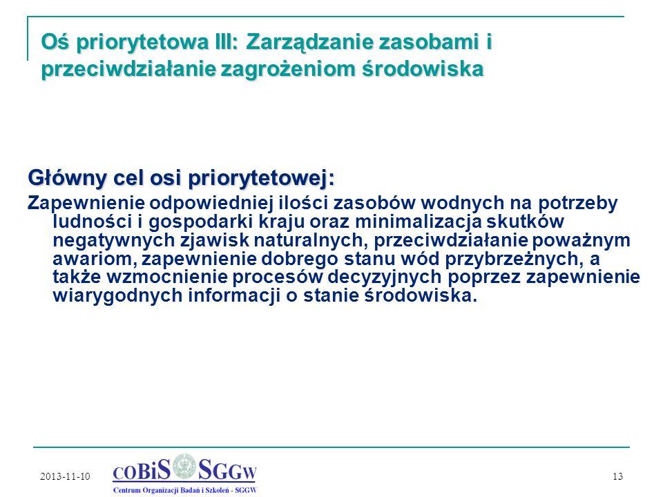 2013-11-10 13 Oś priorytetowa III: Zarządzanie zasobami i przeciwdziałanie zagrożeniom środowiska Główny cel osi priorytetowej: Zapewnienie odpowiedniej ilości zasobów wodnych na potrzeby ludności i gospodarki kraju oraz minimalizacja skutków negatywnych zjawisk naturalnych, przeciwdziałanie poważnym awariom, zapewnienie dobrego stanu wód przybrzeżnych, a także wzmocnienie procesów decyzyjnych poprzez zapewnienie wiarygodnych informacji o stanie środowiska.