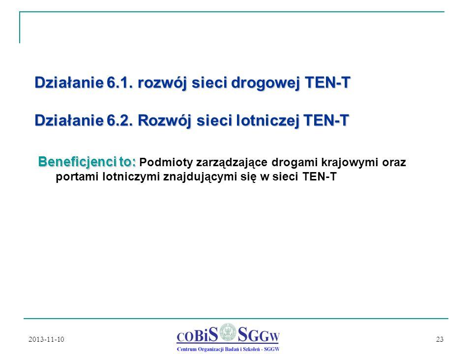 2013-11-10 23 Działanie 6.1.rozwój sieci drogowej TEN-T Działanie 6.2.