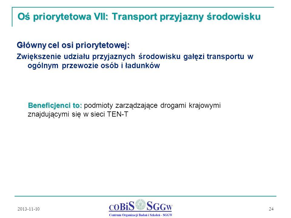 2013-11-10 24 Oś priorytetowa VII: Transport przyjazny środowisku Główny cel osi priorytetowej: Zwiększenie udziału przyjaznych środowisku gałęzi transportu w ogólnym przewozie osób i ładunków Beneficjenci to: Beneficjenci to: podmioty zarządzające drogami krajowymi znajdującymi się w sieci TEN-T