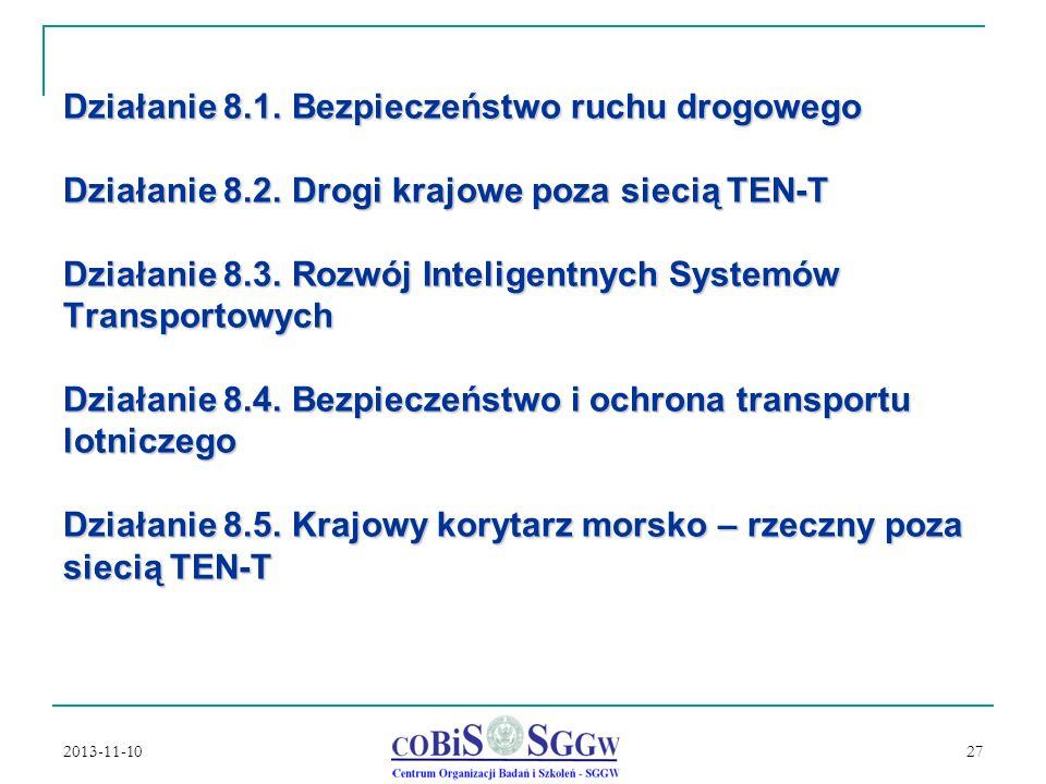 2013-11-10 27 Działanie 8.1.Bezpieczeństwo ruchu drogowego Działanie 8.2.