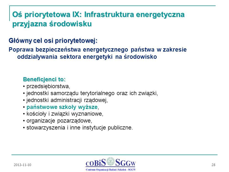 2013-11-10 28 Oś priorytetowa IX: Infrastruktura energetyczna przyjazna środowisku Główny cel osi priorytetowej: Poprawa bezpieczeństwa energetycznego państwa w zakresie oddziaływania sektora energetyki na środowisko Beneficjenci to: przedsiębiorstwa, jednostki samorządu terytorialnego oraz ich związki, jednostki administracji rządowej, państwowe szkoły wyższe, kościoły i związki wyznaniowe, organizacje pozarządowe, stowarzyszenia i inne instytucje publiczne.