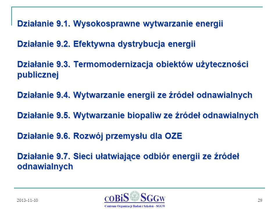 2013-11-10 29 Działanie 9.1.Wysokosprawne wytwarzanie energii Działanie 9.2.