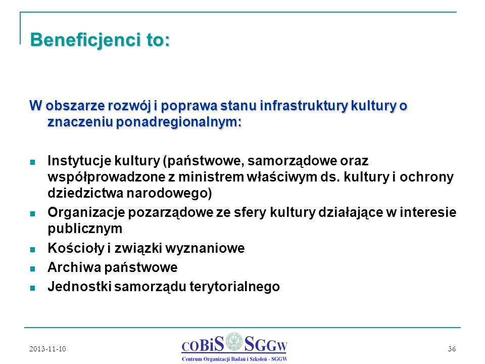 2013-11-10 36 Beneficjenci to: W obszarze rozwój i poprawa stanu infrastruktury kultury o znaczeniu ponadregionalnym: Instytucje kultury (państwowe, samorządowe oraz współprowadzone z ministrem właściwym ds.