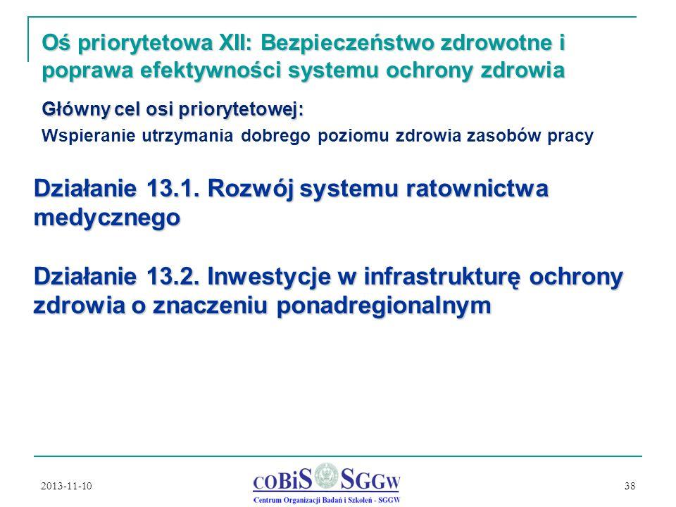 2013-11-10 38 Oś priorytetowa XII: Bezpieczeństwo zdrowotne i poprawa efektywności systemu ochrony zdrowia Główny cel osi priorytetowej: Wspieranie utrzymania dobrego poziomu zdrowia zasobów pracy Działanie 13.1.