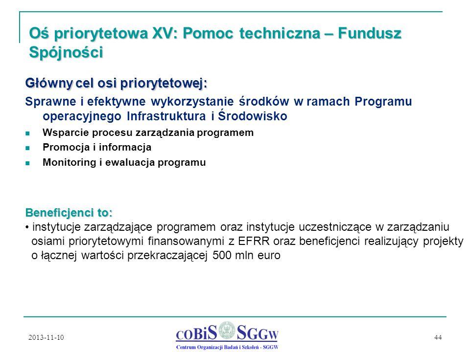 2013-11-10 44 Oś priorytetowa XV: Pomoc techniczna – Fundusz Spójności Główny cel osi priorytetowej: Sprawne i efektywne wykorzystanie środków w ramach Programu operacyjnego Infrastruktura i Środowisko Wsparcie procesu zarządzania programem Promocja i informacja Monitoring i ewaluacja programu Beneficjenci to: instytucje zarządzające programem oraz instytucje uczestniczące w zarządzaniu osiami priorytetowymi finansowanymi z EFRR oraz beneficjenci realizujący projekty o łącznej wartości przekraczającej 500 mln euro