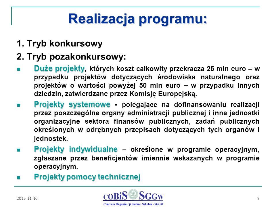 2013-11-10 9 Realizacja programu: 1.Tryb konkursowy 2.