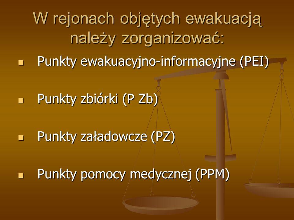 W rejonach objętych ewakuacją należy zorganizować: Punkty ewakuacyjno-informacyjne (PEI) Punkty ewakuacyjno-informacyjne (PEI) Punkty zbiórki (P Zb) P