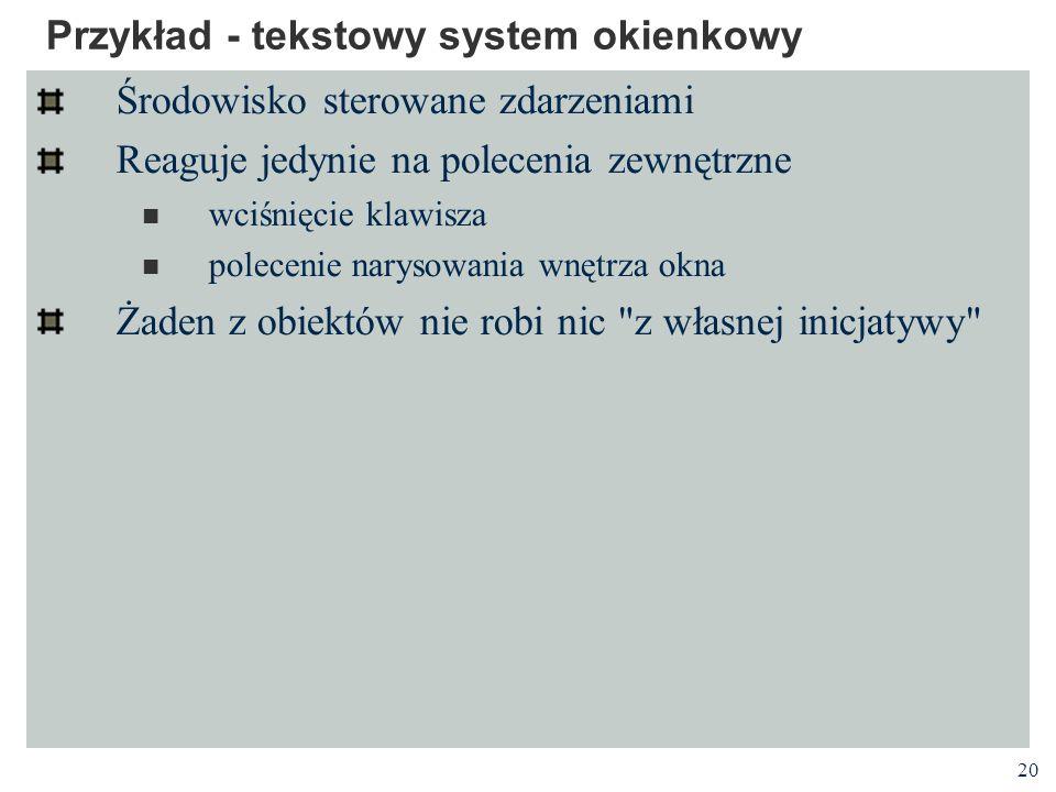 20 Przykład - tekstowy system okienkowy Środowisko sterowane zdarzeniami Reaguje jedynie na polecenia zewnętrzne wciśnięcie klawisza polecenie narysow