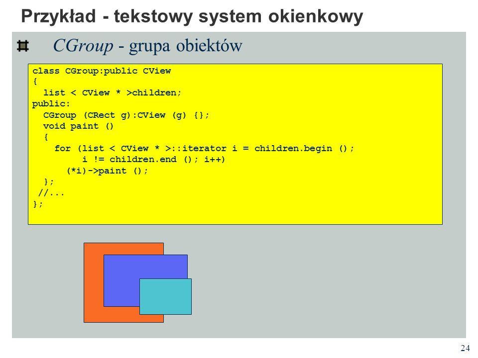 24 Przykład - tekstowy system okienkowy CGroup - grupa obiektów class CGroup:public CView { list children; public: CGroup (CRect g):CView (g) {}; void