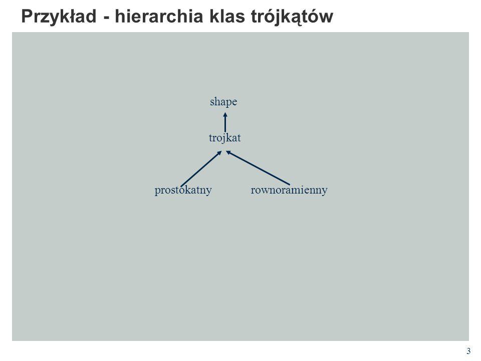 3 Przykład - hierarchia klas trójkątów prostokatny shape trojkat rownoramienny