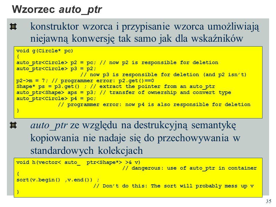 35 Wzorzec auto_ptr konstruktor wzorca i przypisanie wzorca umożliwiają niejawną konwersję tak samo jak dla wskaźników auto_ptr ze względu na destrukc