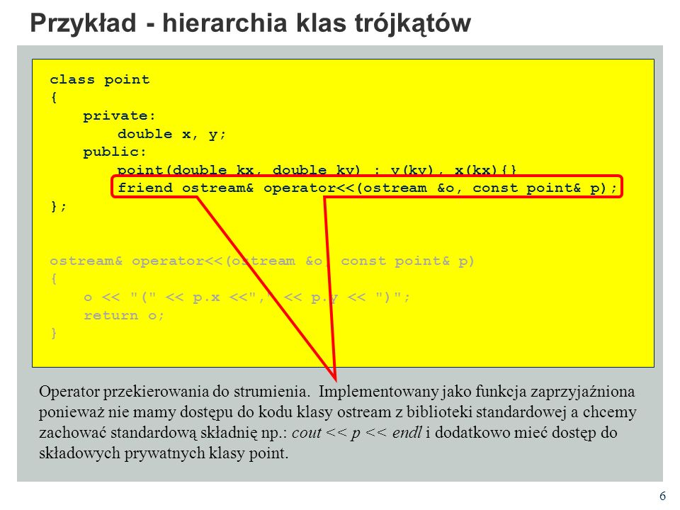 27 Przykład - tekstowy system okienkowy CDesktop - cały ekran class CDesktop:public CGroup { public: CDesktop ():CGroup (CRect ()) { int y, x; init_screen (); getscreensize (y, x); geom.size.x = x; geom.size.y = y; }; ~CDesktop () { done_screen (); }; void paint() { for (int i = geom.topleft.y; i < geom.topleft.y + geom.size.y; i++) { gotoyx (i, geom.topleft.x); for (int j = 0; j < geom.size.x; j++) printw ( . ); }; CGroup::paint(); } int getEvent () { return ngetch (); }; void run () { int c; paint (); refresh (); while (1) { c = getEvent (); if (c == 27) break; if (handleEvent (c)) { paint (); refresh (); };