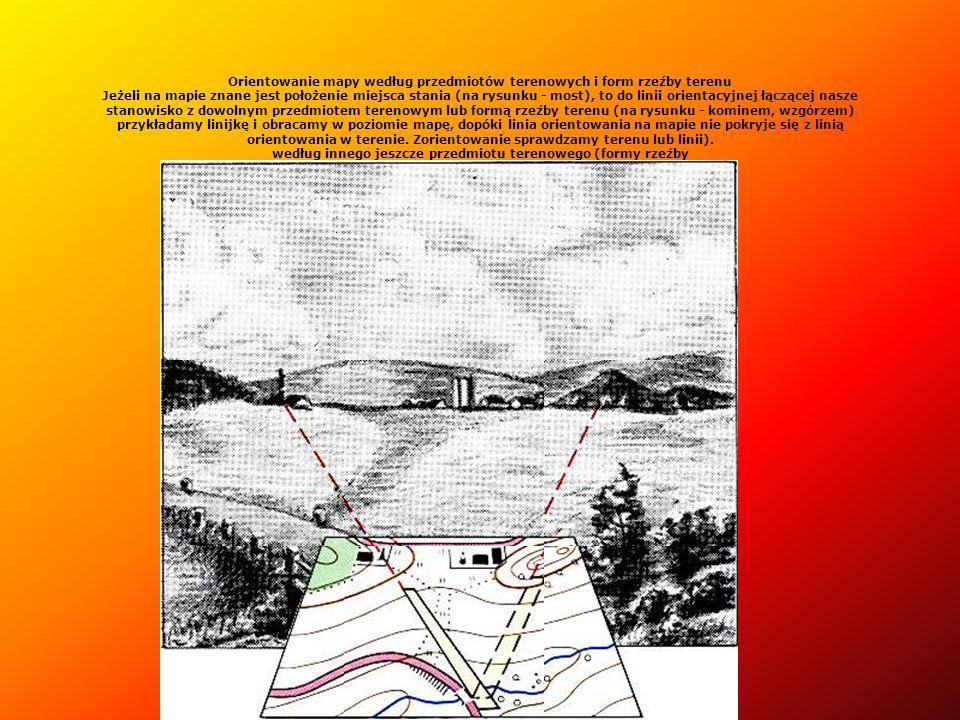 Orientowanie mapy według przedmiotów terenowych i form rzeźby terenu Jeżeli na mapie znane jest położenie miejsca stania (na rysunku - most), to do li