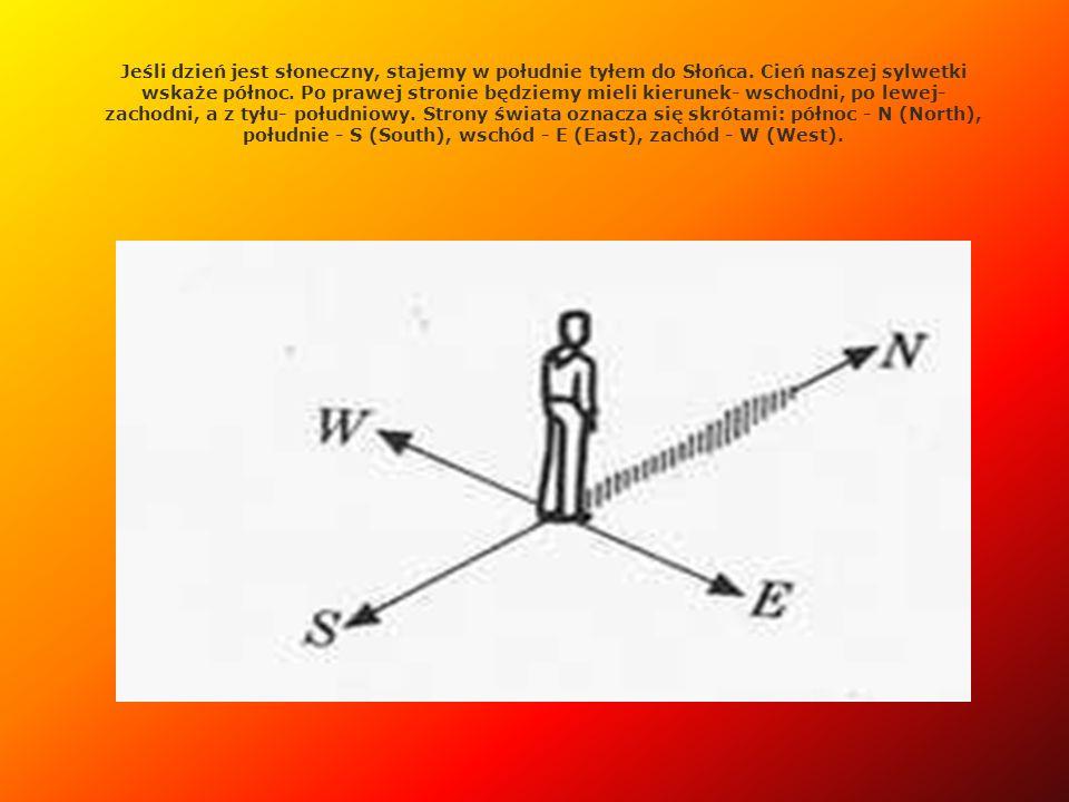 W innych porach dnia możemy również określać strony świata według położenia Słońca (oczywiście, jeżeli Słońce jest widoczne).
