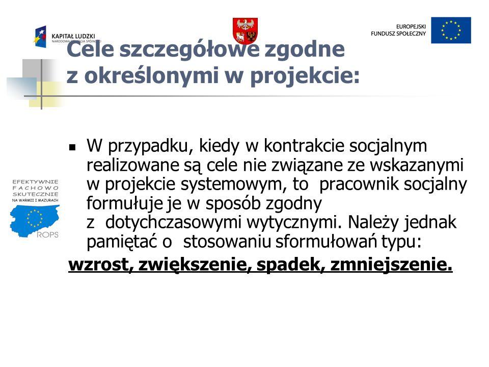 W przypadku, kiedy w kontrakcie socjalnym realizowane są cele nie związane ze wskazanymi w projekcie systemowym, to pracownik socjalny formułuje je w