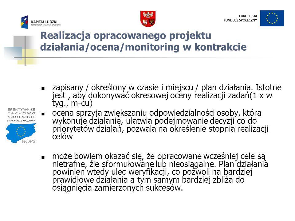 Realizacja opracowanego projektu działania/ocena/monitoring w kontrakcie zapisany / określony w czasie i miejscu / plan działania. Istotne jest, aby d