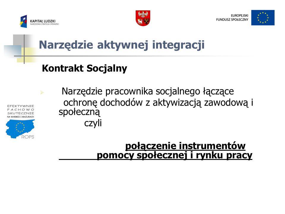 Narzędzie aktywnej integracji Kontrakt Socjalny Narzędzie pracownika socjalnego łączące ochronę dochodów z aktywizacją zawodową i społeczną czyli połą