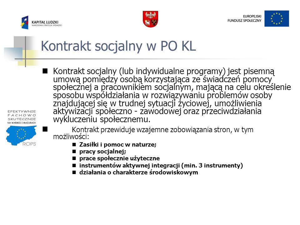 Kontrakt socjalny w PO KL Kontrakt socjalny (lub indywidualne programy) jest pisemną umową pomiędzy osobą korzystająca ze świadczeń pomocy społecznej