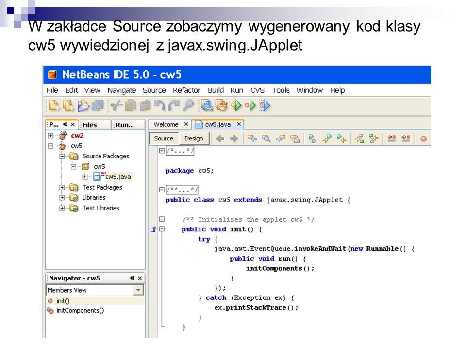 W zakładce Source zobaczymy wygenerowany kod klasy cw5 wywiedzionej z javax.swing.JApplet