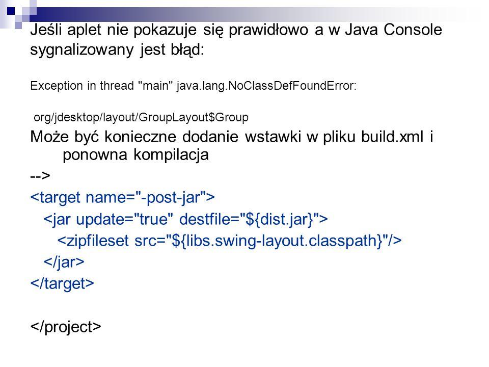Jeśli aplet nie pokazuje się prawidłowo a w Java Console sygnalizowany jest błąd: Exception in thread