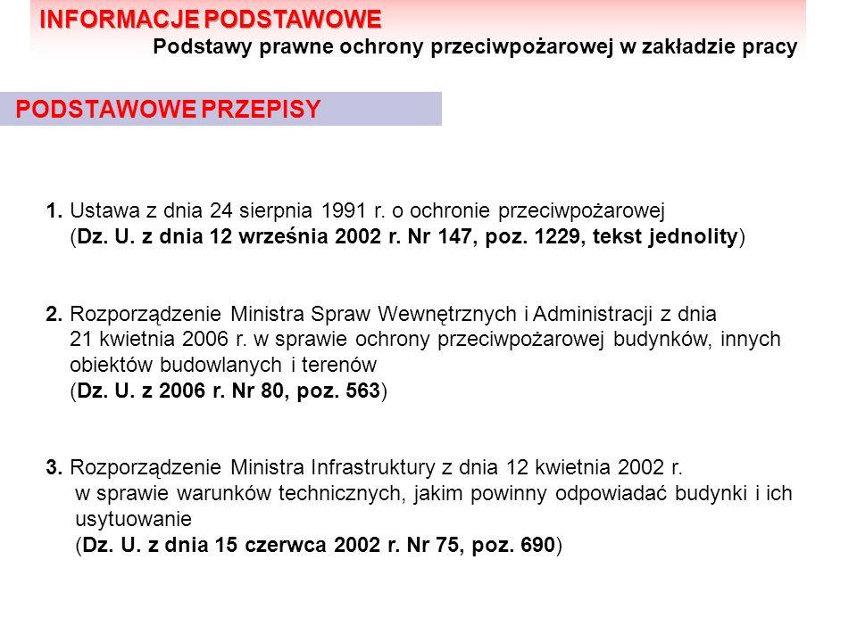 PODSTAWOWE PRZEPISY 1. Ustawa z dnia 24 sierpnia 1991 r. o ochronie przeciwpożarowej (Dz. U. z dnia 12 września 2002 r. Nr 147, poz. 1229, tekst jedno