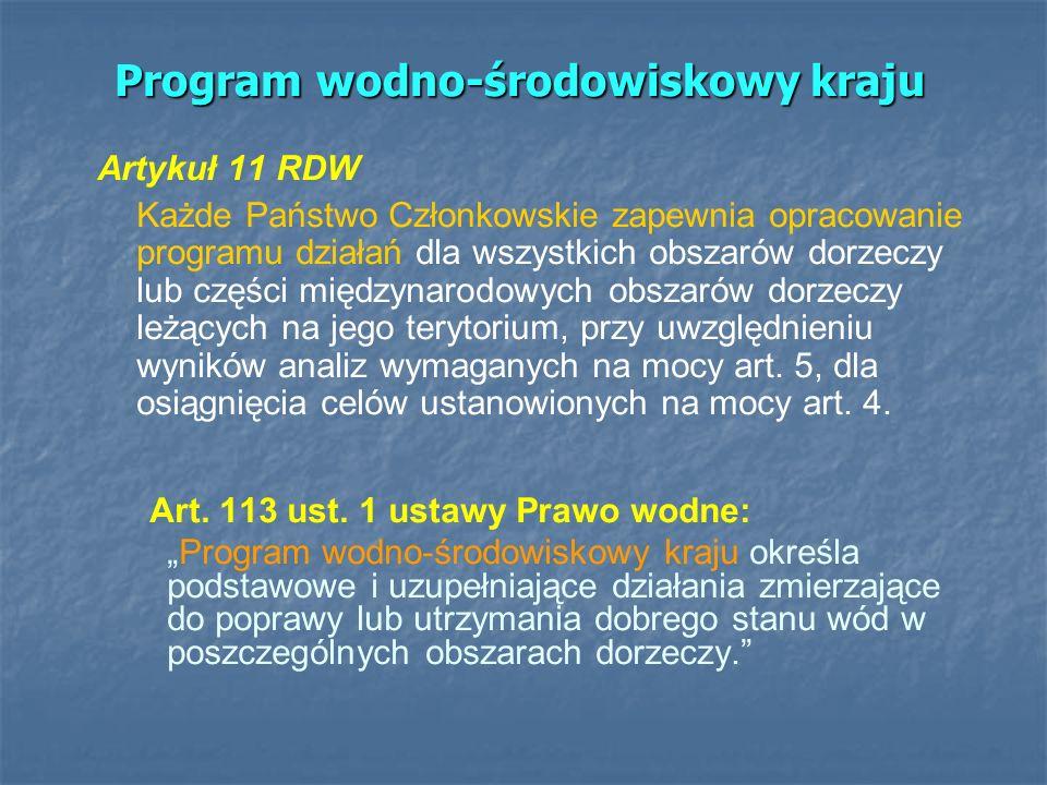 Program wodno-środowiskowy kraju Artykuł 11 RDW Każde Państwo Członkowskie zapewnia opracowanie programu działań dla wszystkich obszarów dorzeczy lub