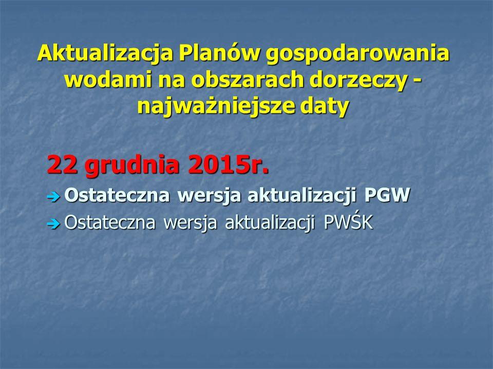 Aktualizacja Planów gospodarowania wodami na obszarach dorzeczy - najważniejsze daty 22 grudnia 2015r. Ostateczna wersja aktualizacji PGW Ostateczna w