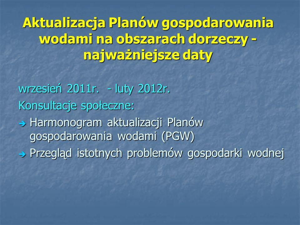 Aktualizacja Planów gospodarowania wodami na obszarach dorzeczy - najważniejsze daty wrzesień 2011r. - luty 2012r. Konsultacje społeczne: Harmonogram