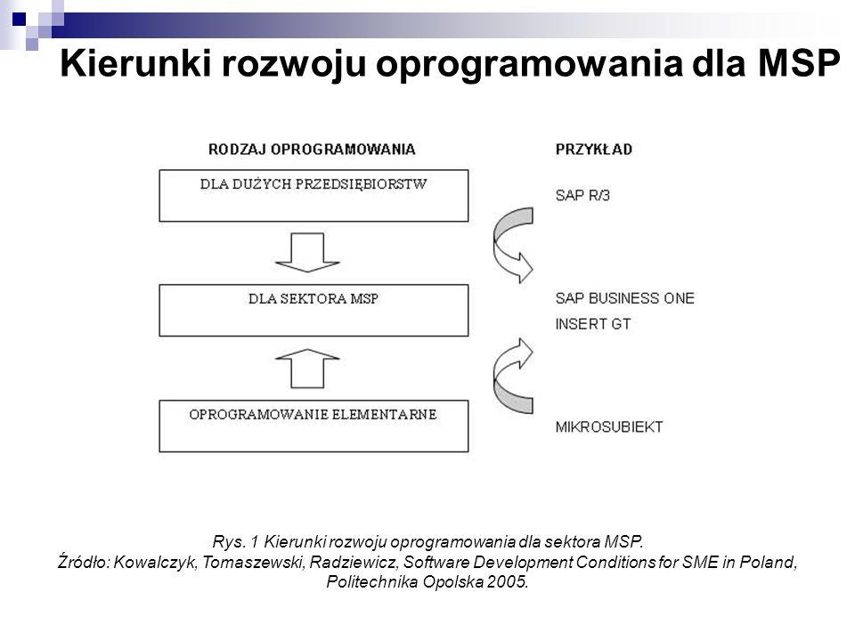 Kierunki rozwoju oprogramowania dla MSP Rys. 1 Kierunki rozwoju oprogramowania dla sektora MSP. Źródło: Kowalczyk, Tomaszewski, Radziewicz, Software D