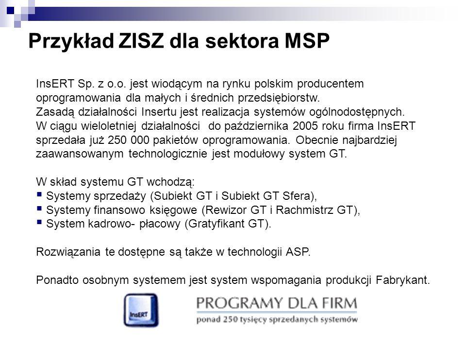 Przykład ZISZ dla sektora MSP InsERT Sp. z o.o. jest wiodącym na rynku polskim producentem oprogramowania dla małych i średnich przedsiębiorstw. Zasad