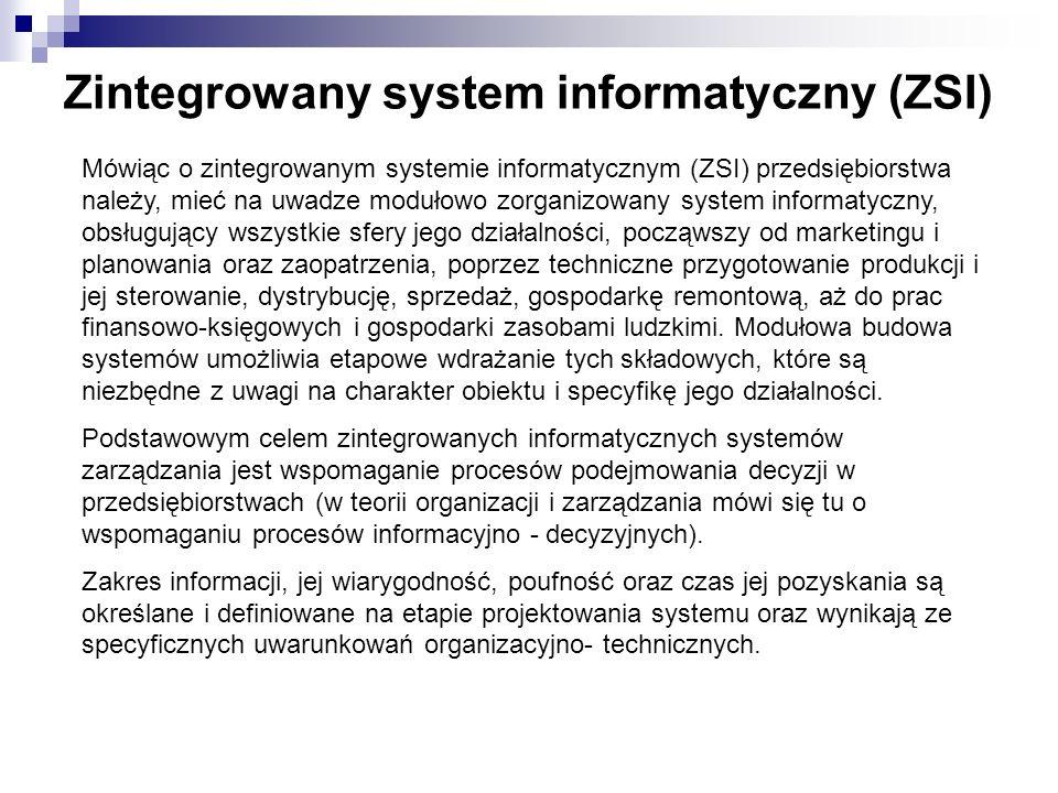 Zintegrowany system informatyczny (ZSI) Mówiąc o zintegrowanym systemie informatycznym (ZSI) przedsiębiorstwa należy, mieć na uwadze modułowo zorganiz