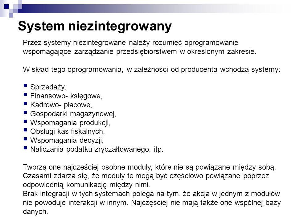 System niezintegrowany Przez systemy niezintegrowane należy rozumieć oprogramowanie wspomagające zarządzanie przedsiębiorstwem w określonym zakresie.