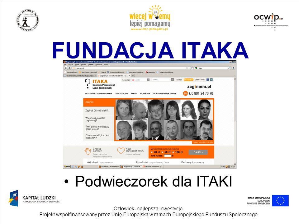 Człowiek- najlepsza inwestycja Projekt współfinansowany przez Unię Europejską w ramach Europejskiego Funduszu Społecznego FUNDACJA ITAKA Podwieczorek
