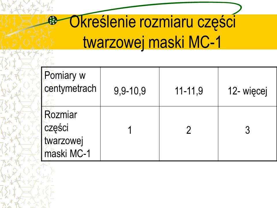Określenie rozmiaru części twarzowej maski MC-1 Pomiary w centymetrach 9,9-10,911-11,912- więcej Rozmiar części twarzowej maski MC-1 123