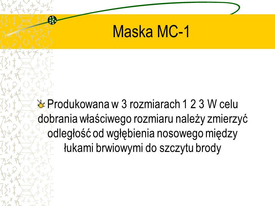 Maska MC-1 Produkowana w 3 rozmiarach 1 2 3 W celu dobrania właściwego rozmiaru należy zmierzyć odległość od wgłębienia nosowego między łukami brwiowy