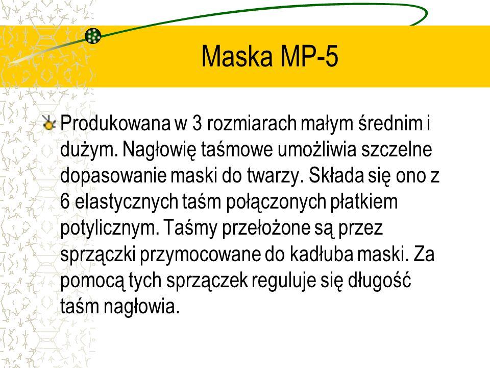 Maska MP-5 Produkowana w 3 rozmiarach małym średnim i dużym. Nagłowię taśmowe umożliwia szczelne dopasowanie maski do twarzy. Składa się ono z 6 elast