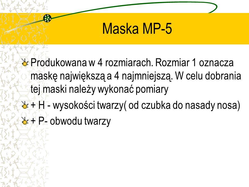 Maska MP-5 Produkowana w 4 rozmiarach. Rozmiar 1 oznacza maskę największą a 4 najmniejszą. W celu dobrania tej maski należy wykonać pomiary + H - wyso