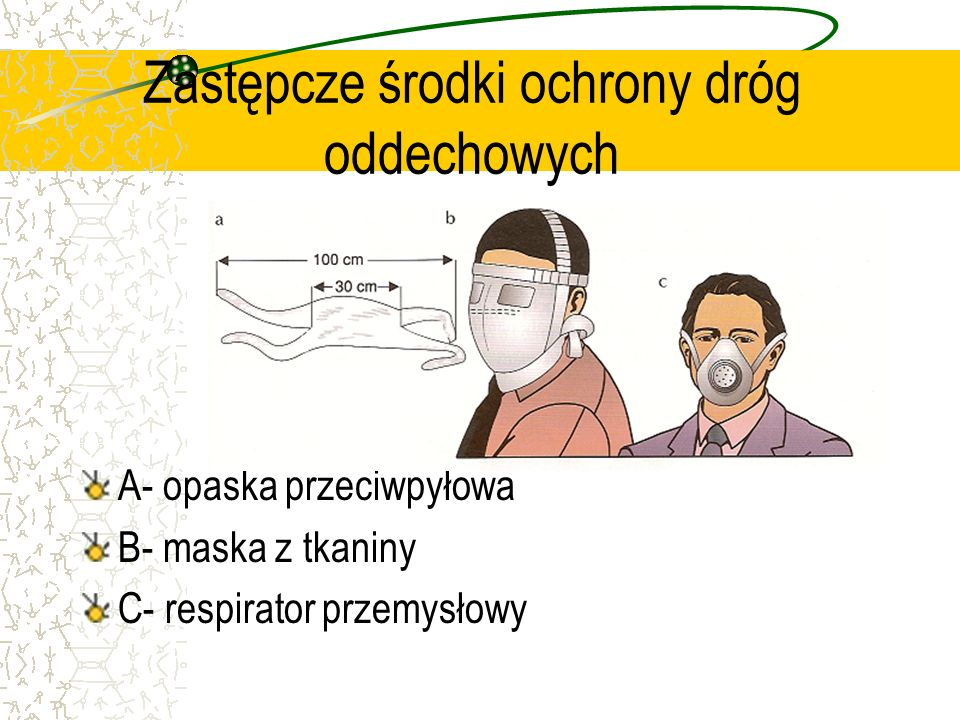 Zastępcze środki ochrony dróg oddechowych A- opaska przeciwpyłowa B- maska z tkaniny C- respirator przemysłowy